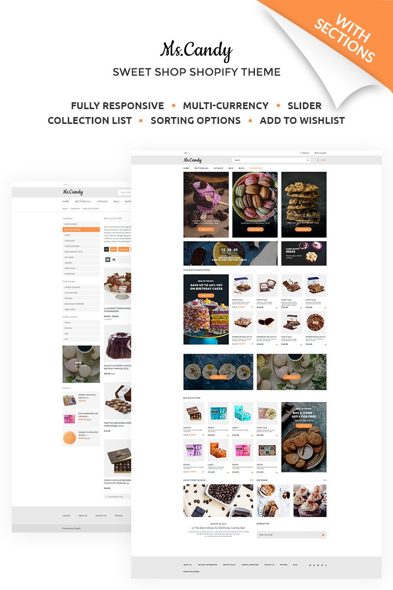 """""""Ms.Candy - Delicious Sweets & Candies Online Store"""" Responsive Shopify Thema №67574 - screenshot"""