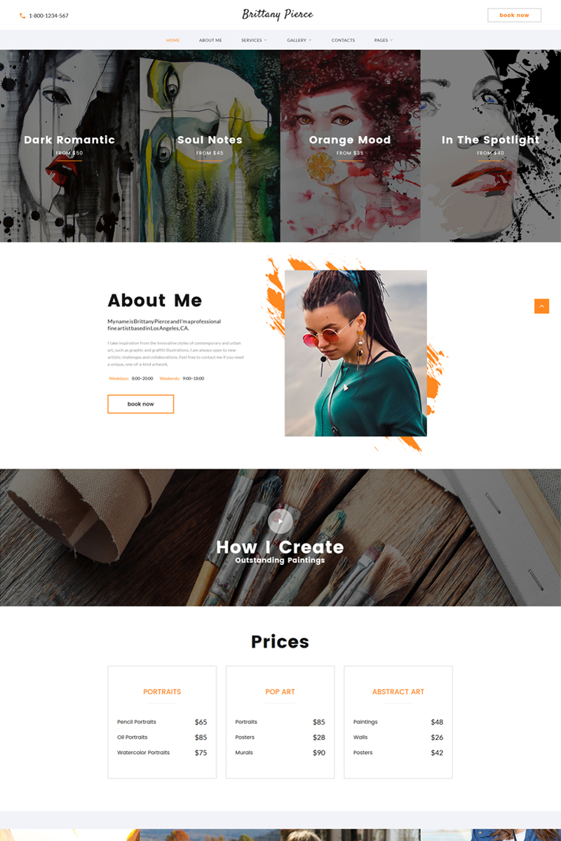 "Plantilla Web ""Brittany Pierce - Artist Portfolio Multipage HTML5"" #67551"