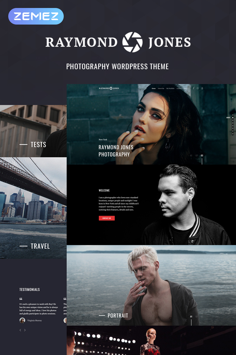 Raymond Jones - Photographer Portfolio Landing Page WordPress Theme - screenshot