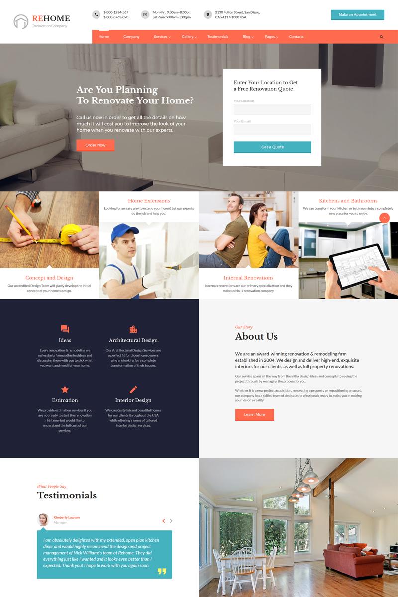 """ReHome - Home Renovation & Modeling Multipage HTML"" - адаптивний Шаблон сайту №67572"