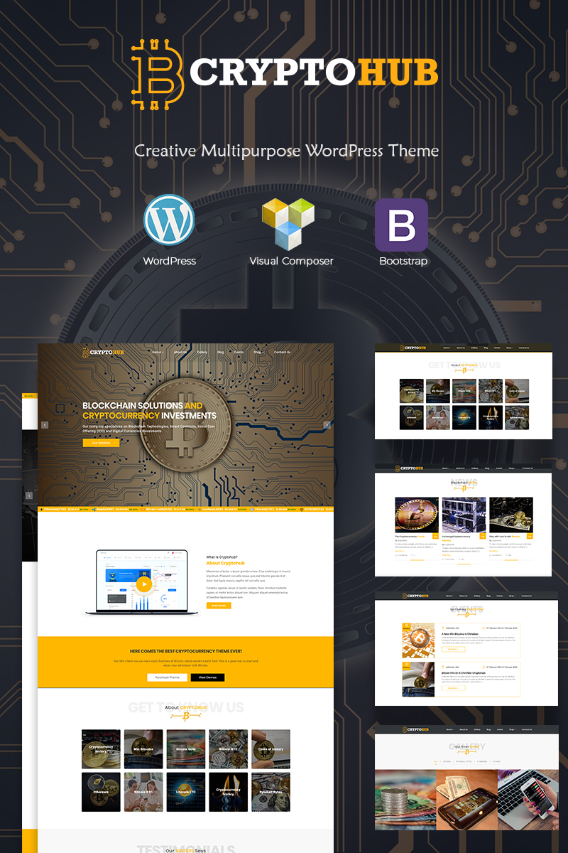 Responsivt CryptoHub - Cryptocurrency WordPress-tema #67590