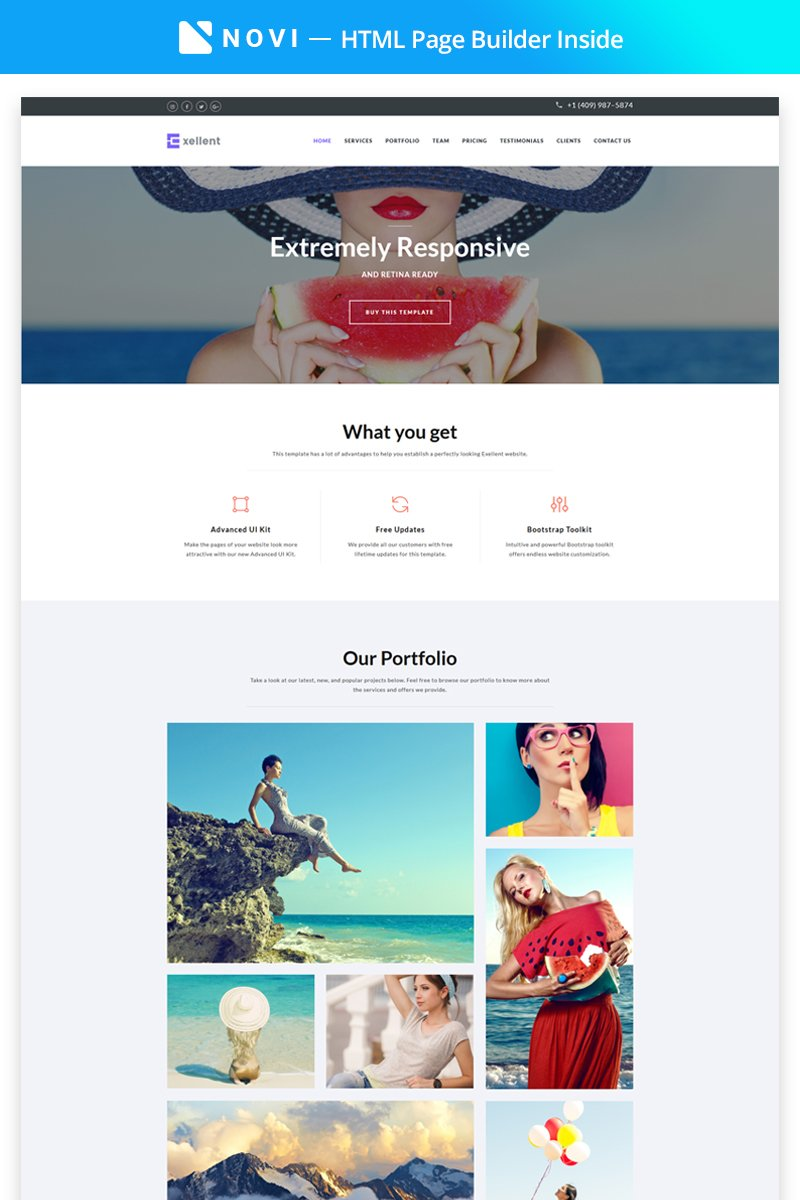 Responsywny szablon Landing Page Exellent - Startup with Built-In Novi Builder #67573