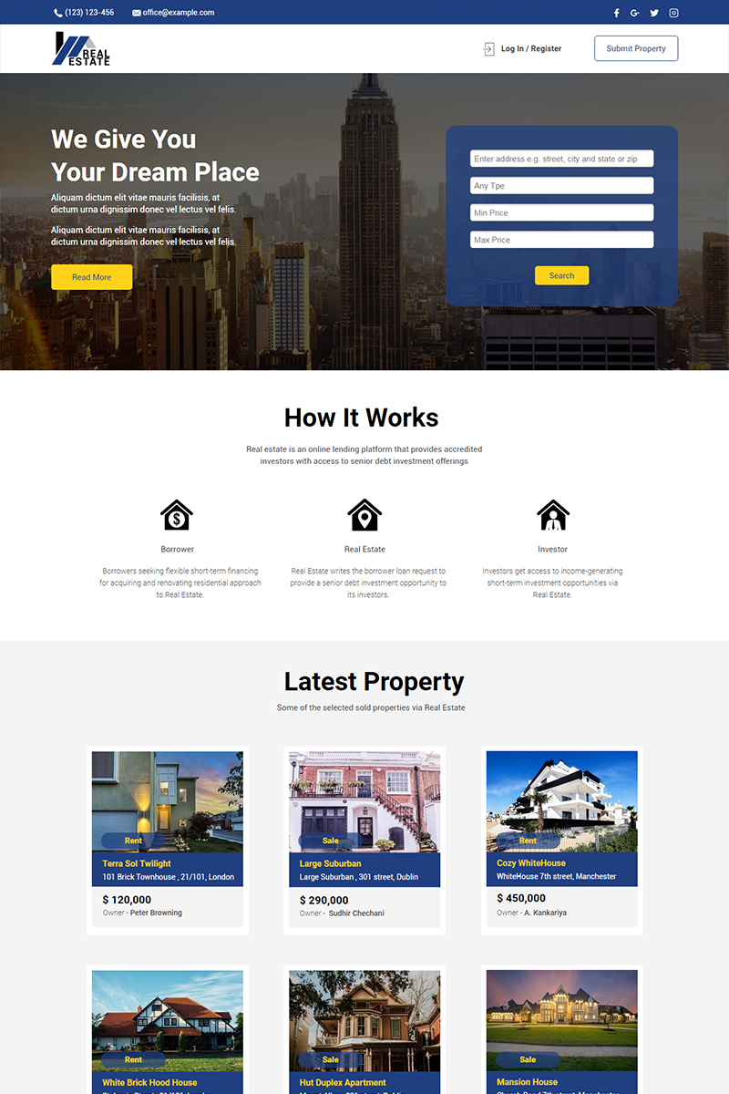 Responsywny szablon Unbounce Real Estate #67580