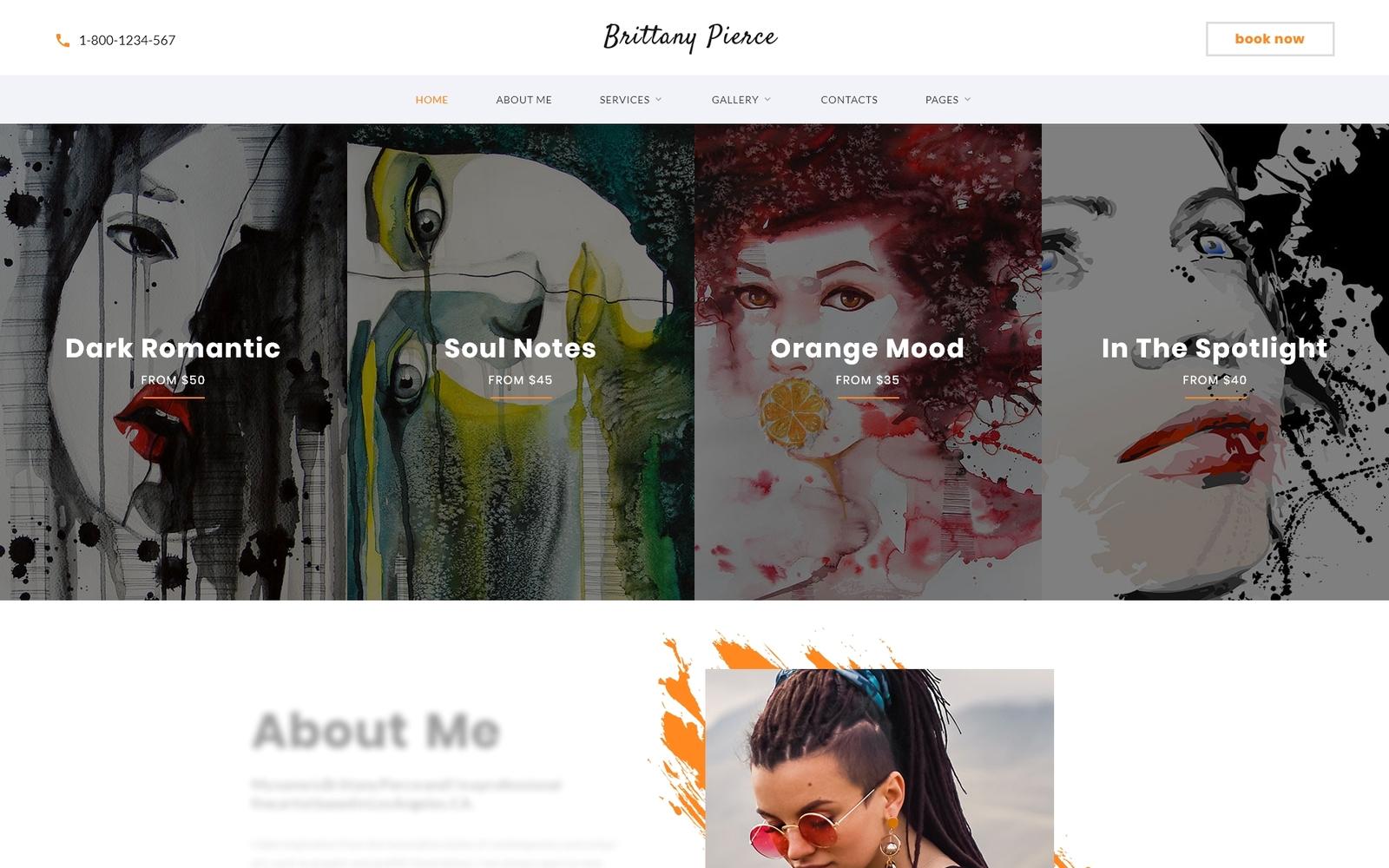 Reszponzív Brittany Pierce - Artist Portfolio Multipage HTML5 Weboldal sablon 67551