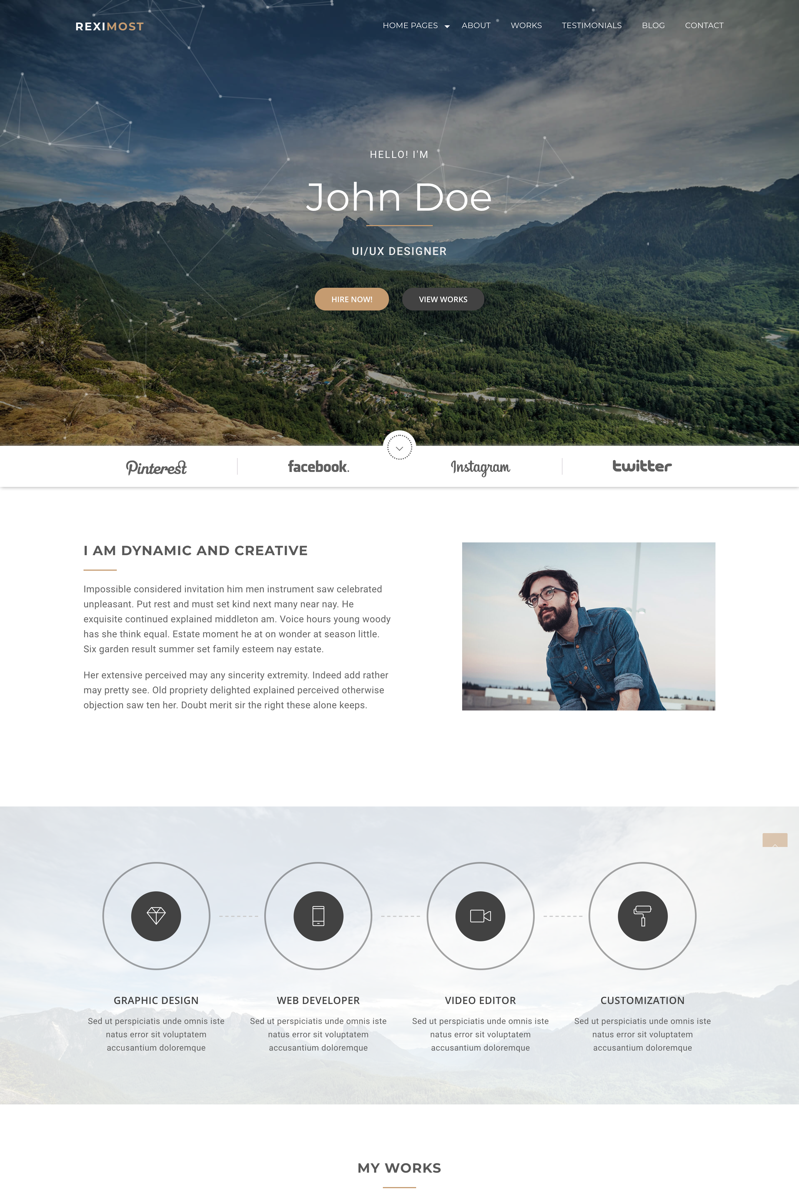 Reximost - Personal Portfolio HTML Website Template - screenshot