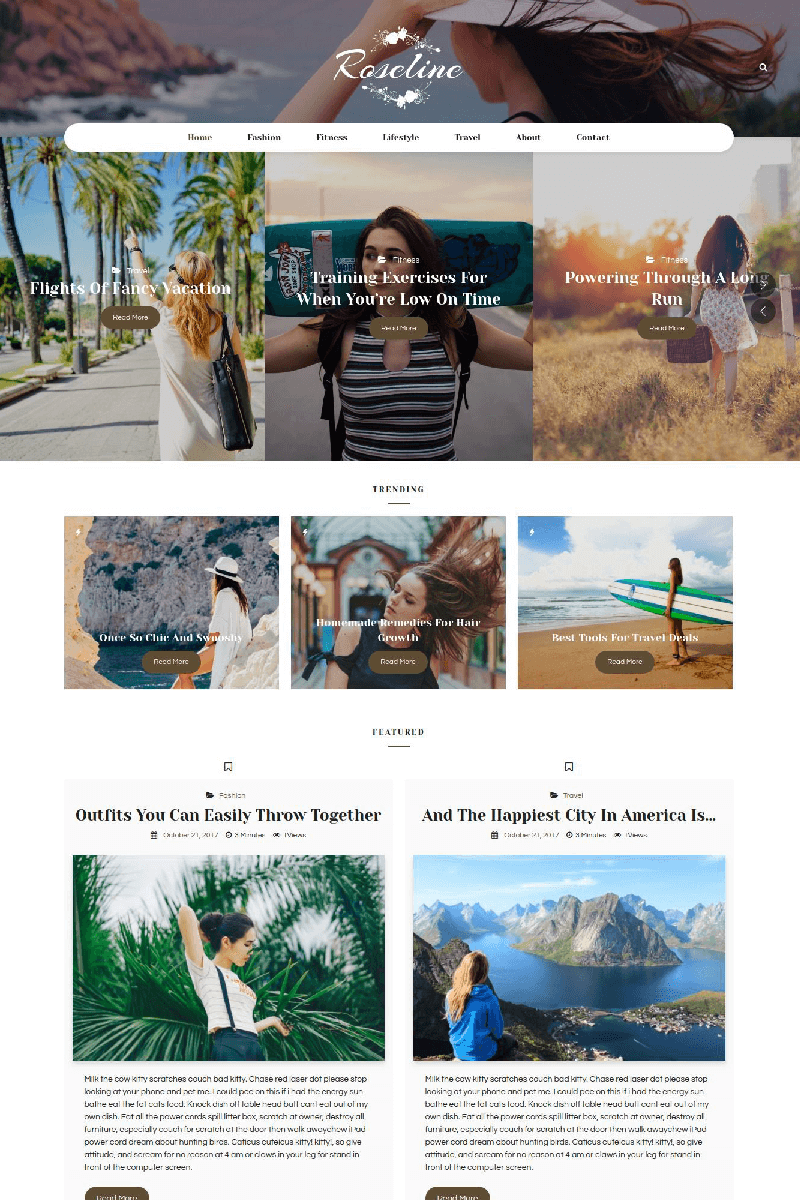 """Roseline - Personal Blog"" thème WordPress  #67577 - screenshot"