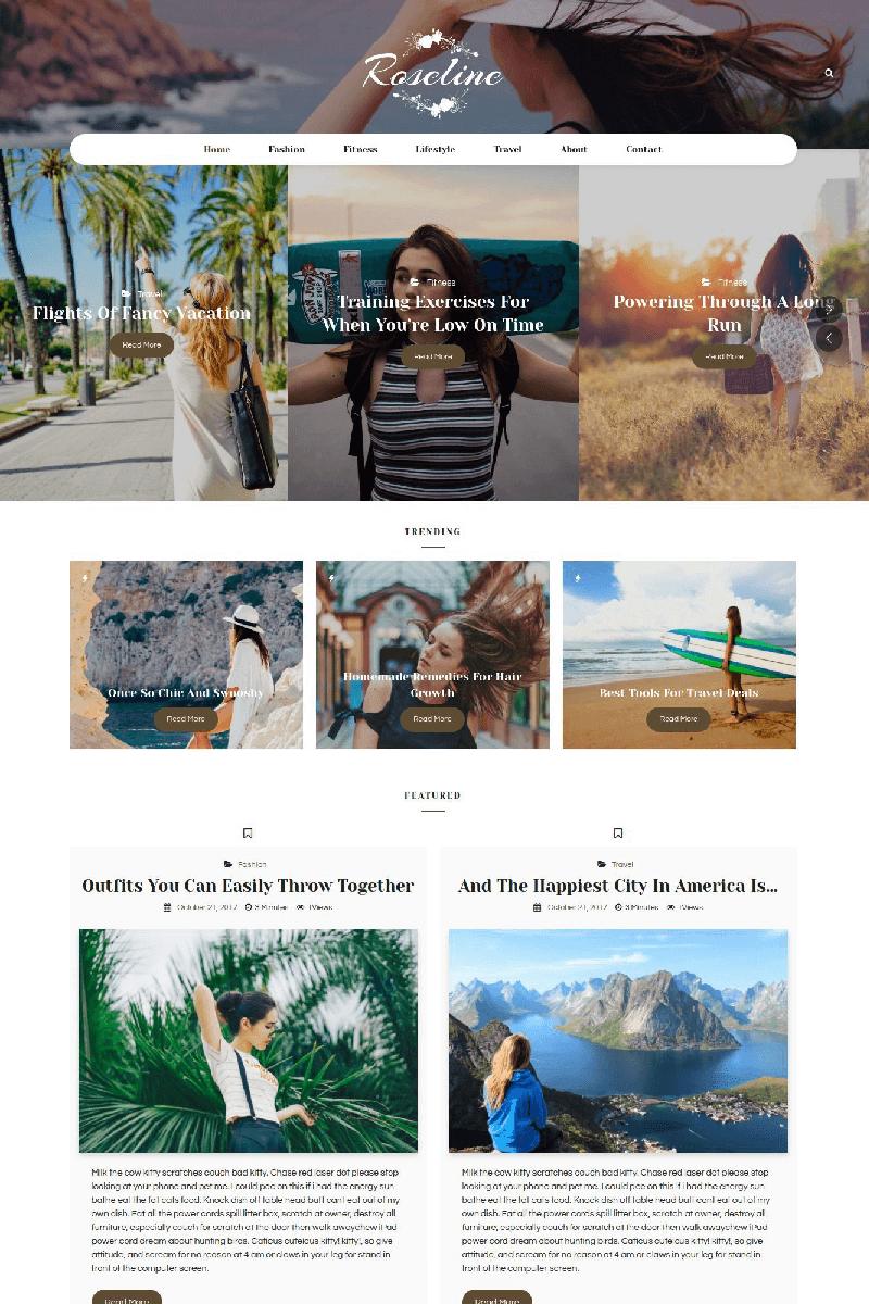 """Roseline - Personal Blog"" WordPress模板 #67577 - 截图"
