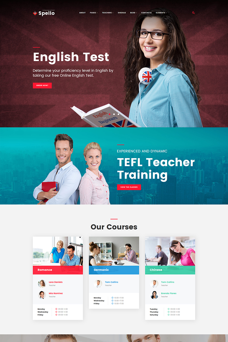 Spellolite - Language School WordPress Theme - screenshot