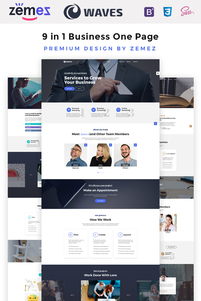 """Tema Siti Web Responsive #67557 """"Waves - 9 in 1 Business One Page"""""""