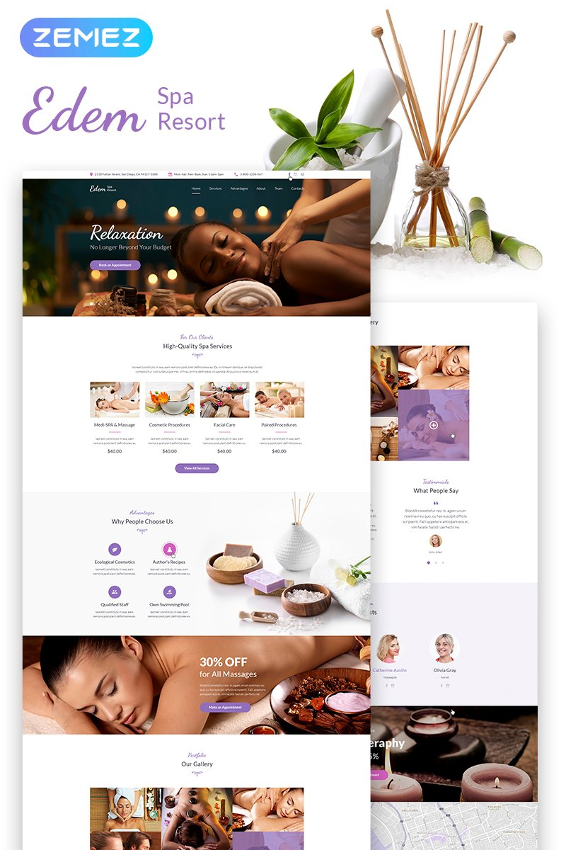 "Template WordPress Responsive #67555 ""Edem - Sophisticated Beauty Salon"""