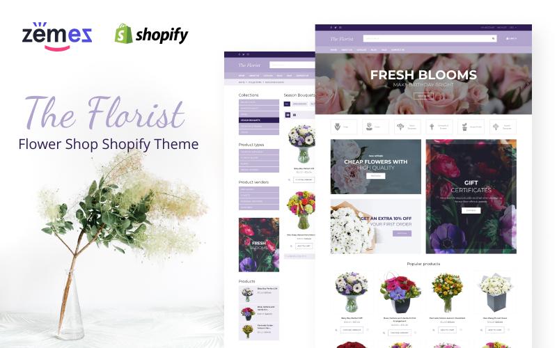 """The Florist - Flower Shop"" - адаптивний Shopify шаблон №67531"