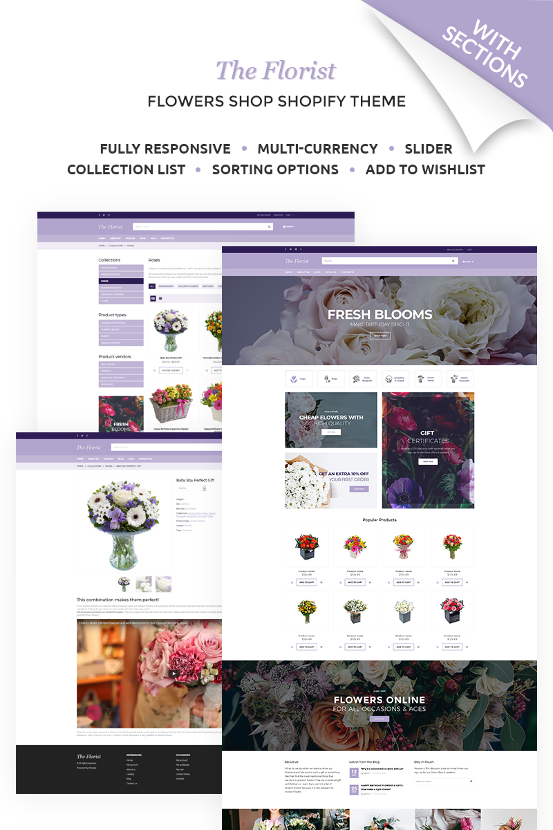 """The Florist - Flower Shop"" - адаптивний Shopify шаблон №67531"