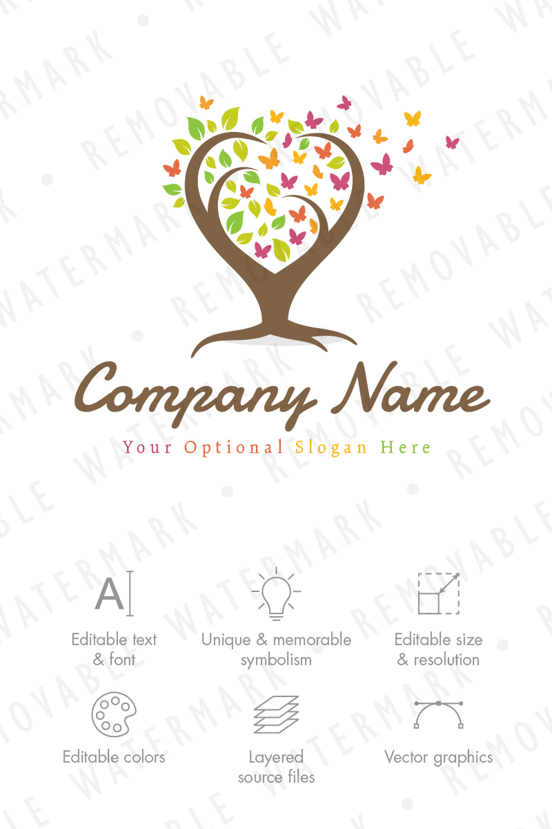 tree of butterflies - logo template #67516