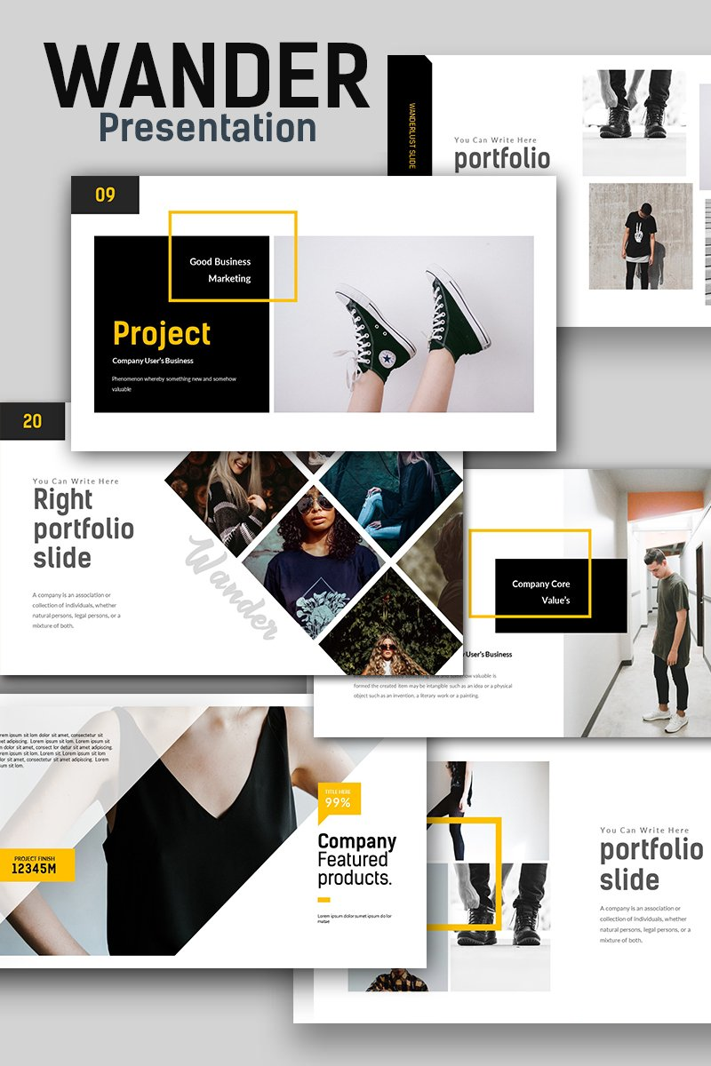 """Wander Creative Presentation"" PowerPoint Template №67594"