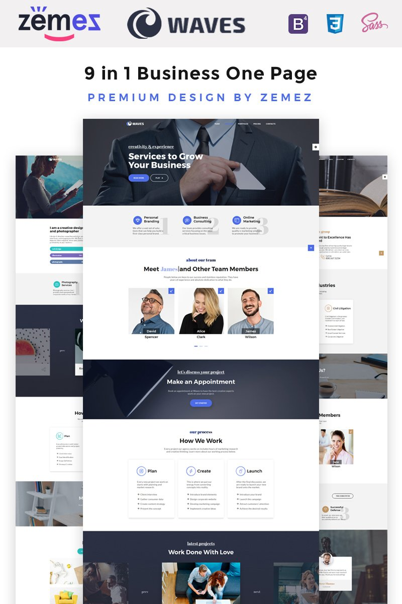"""Waves - 9 in 1 Business One Page"" modèle web adaptatif #67557"