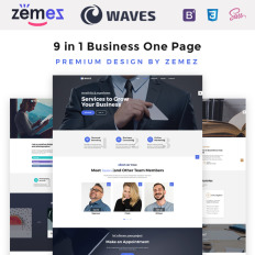 One page website templates templatemonster waves 9 in 1 business one page parallax website template friedricerecipe Images