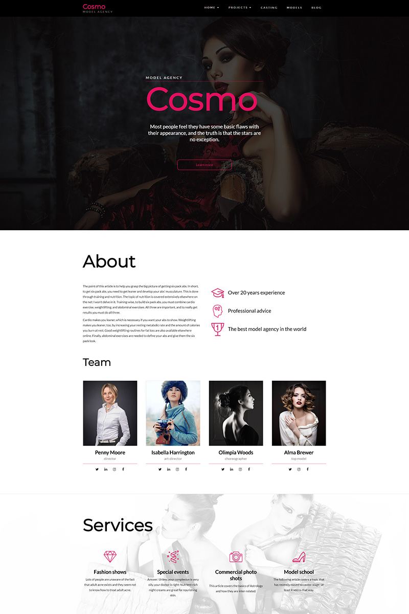cosmo model agency wordpress theme 67606. Black Bedroom Furniture Sets. Home Design Ideas