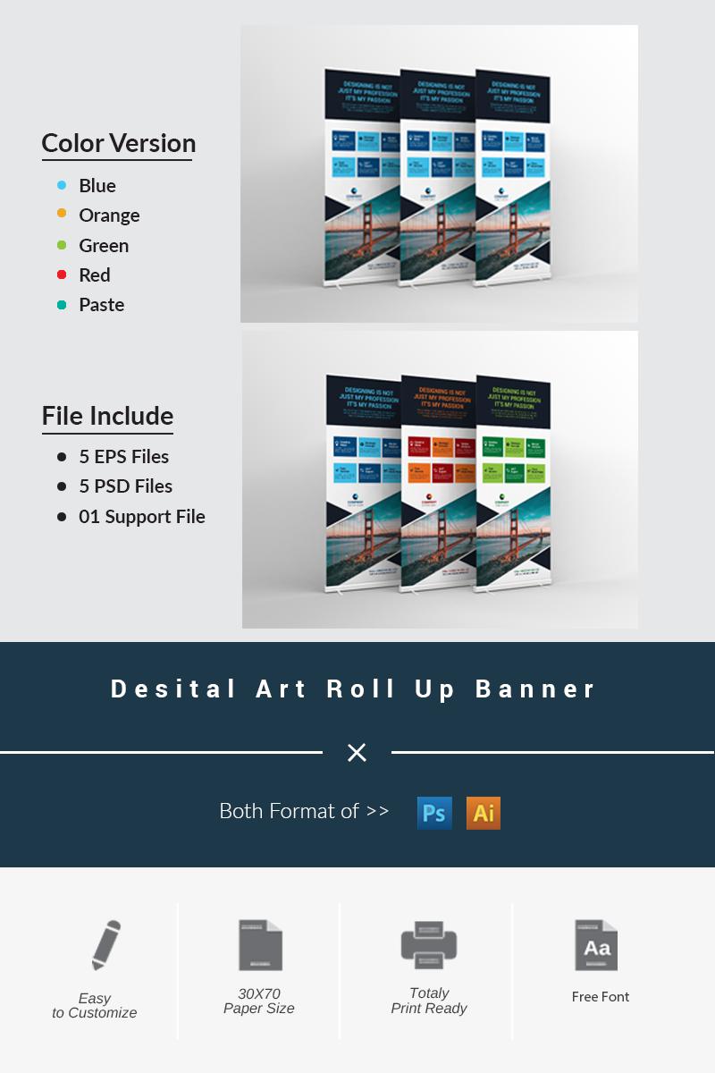 """""""Digital Art Roll Up Banner"""" PSD模板 #67610"""