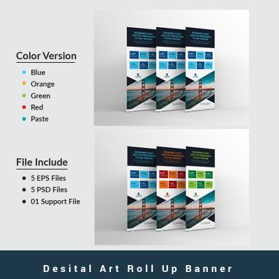 Digital Art Roll Up Banner PSD Template #67610