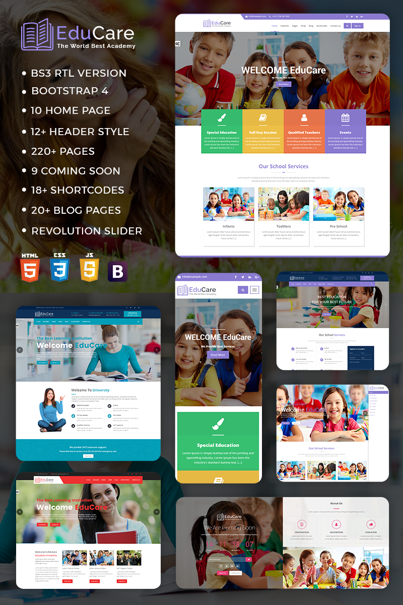 """EduCare  -  Education With RTL Ready"" - адаптивний Шаблон сайту №67680"