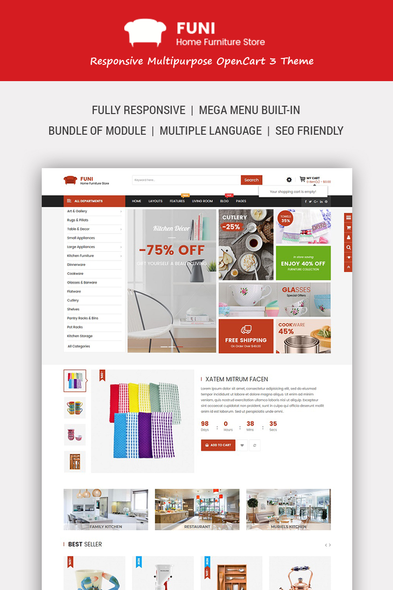 Funi - Furniture OpenCart Template