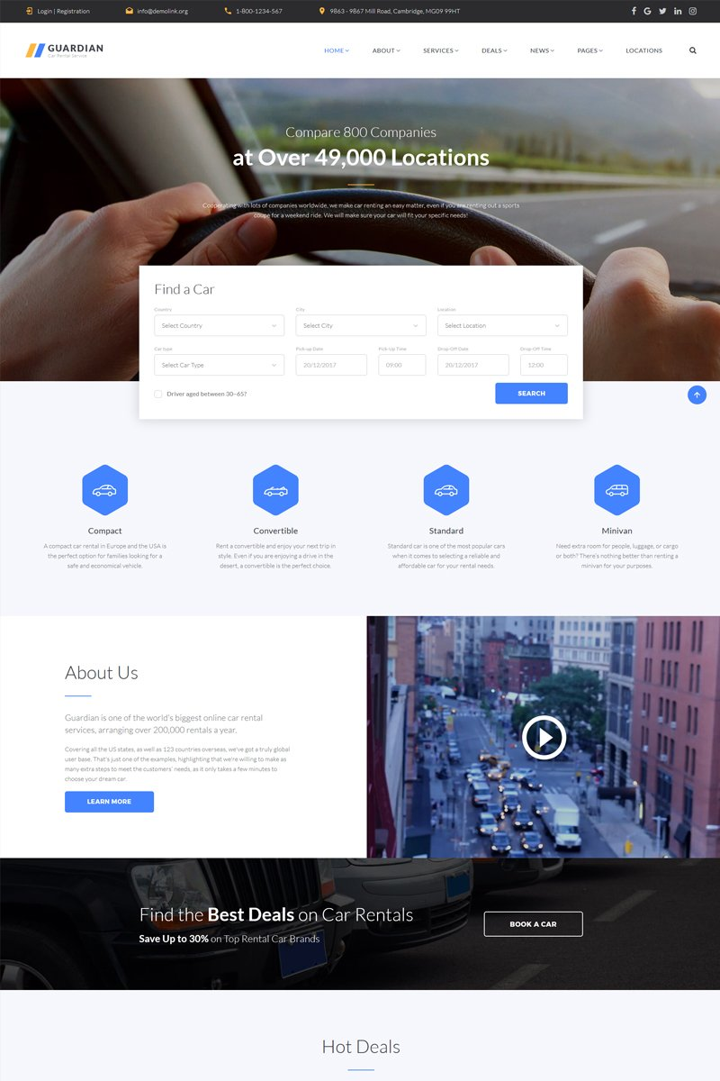 Guardian - Responsive Car Rental Company Multipage HTML Website Template