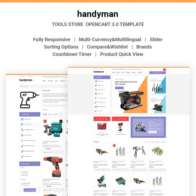 Tools equipment templates templatemonster for Opencart bookstore template