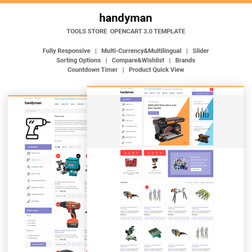 Handyman - Responsive Tools Store - OpenCart Template based on Bootstrap