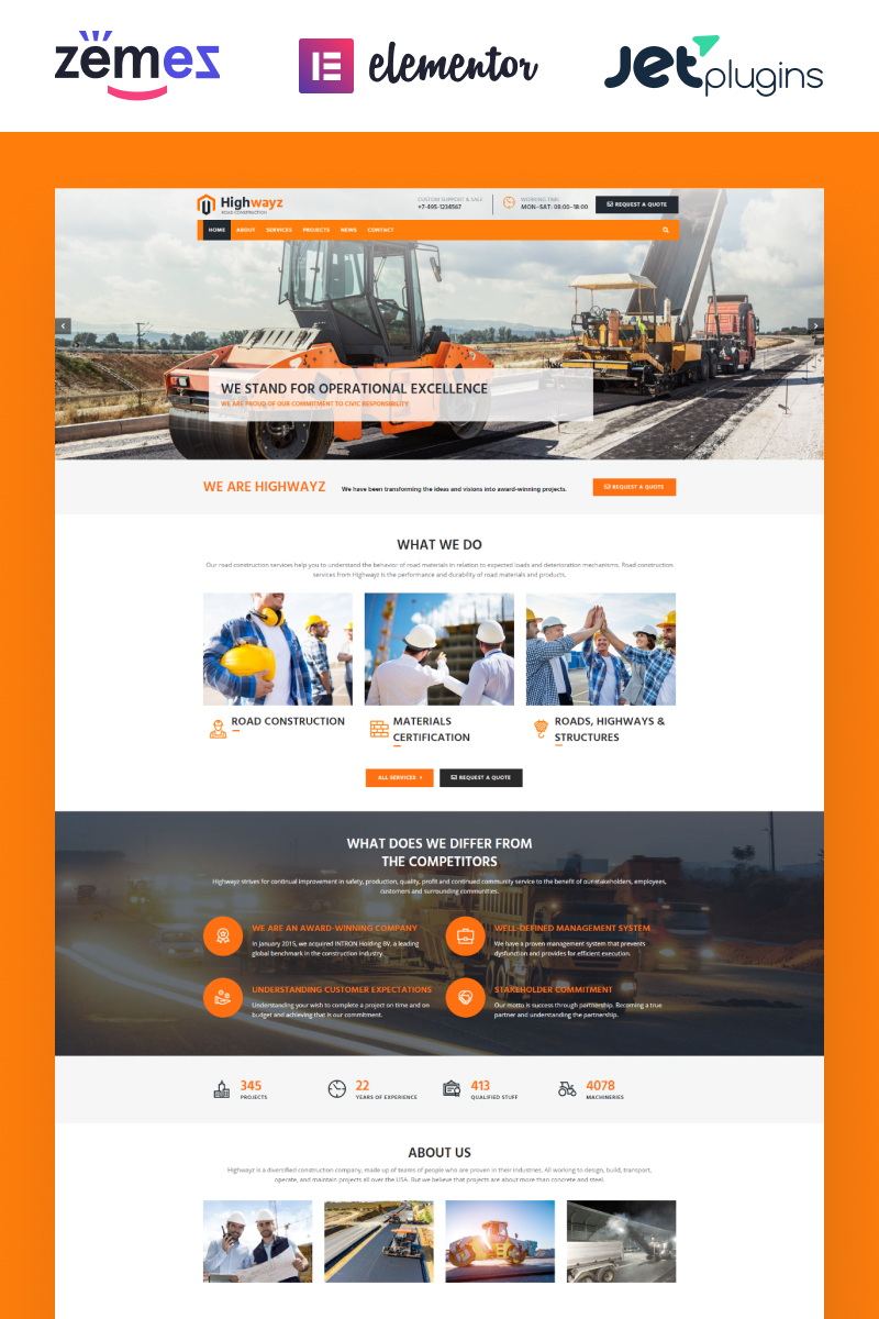 """Highwayz - Road Construction"" WordPress模板 #67630"