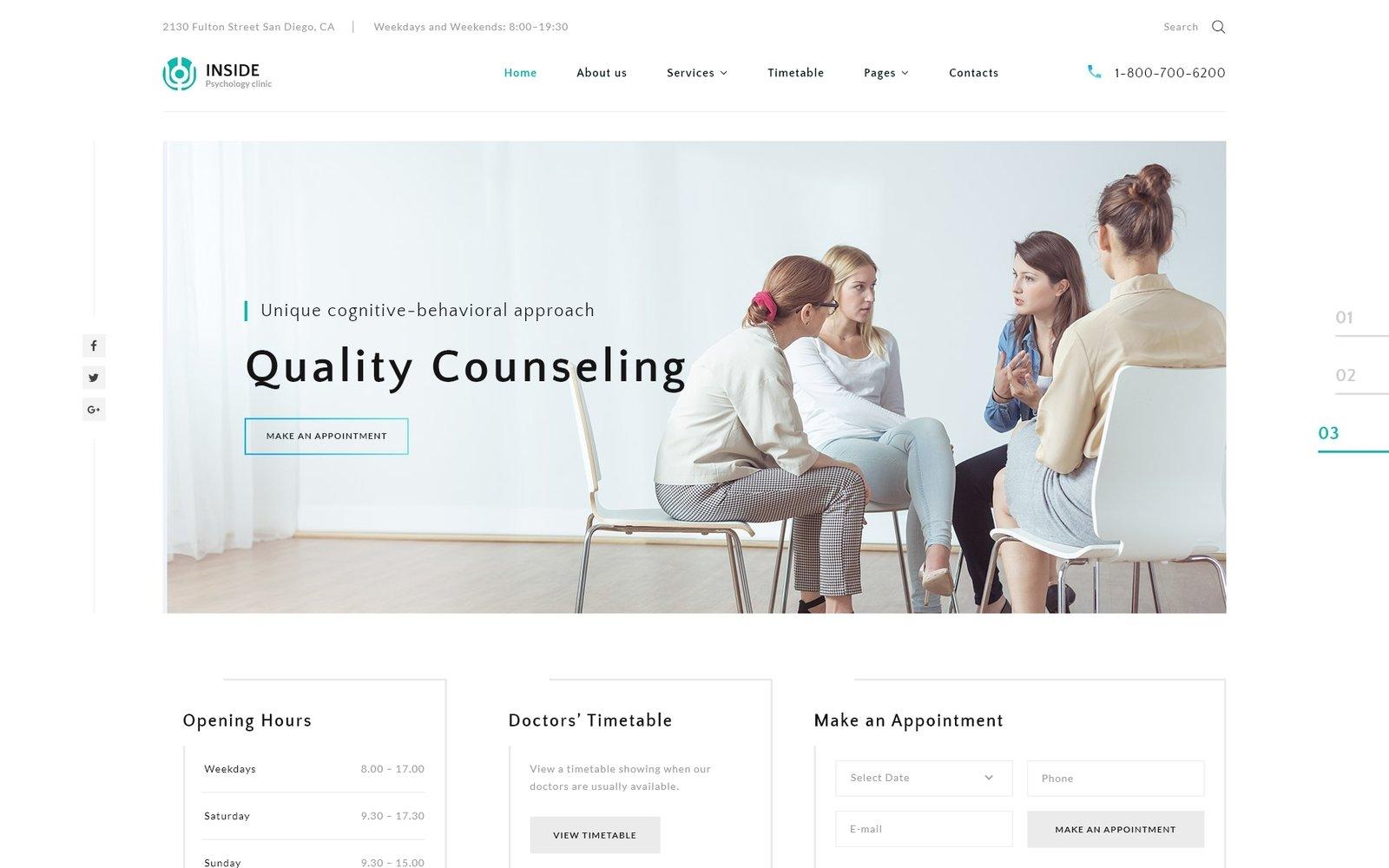 """Inside - Psychology Clinic Multipage HTML5"" - адаптивний Шаблон сайту №67685"