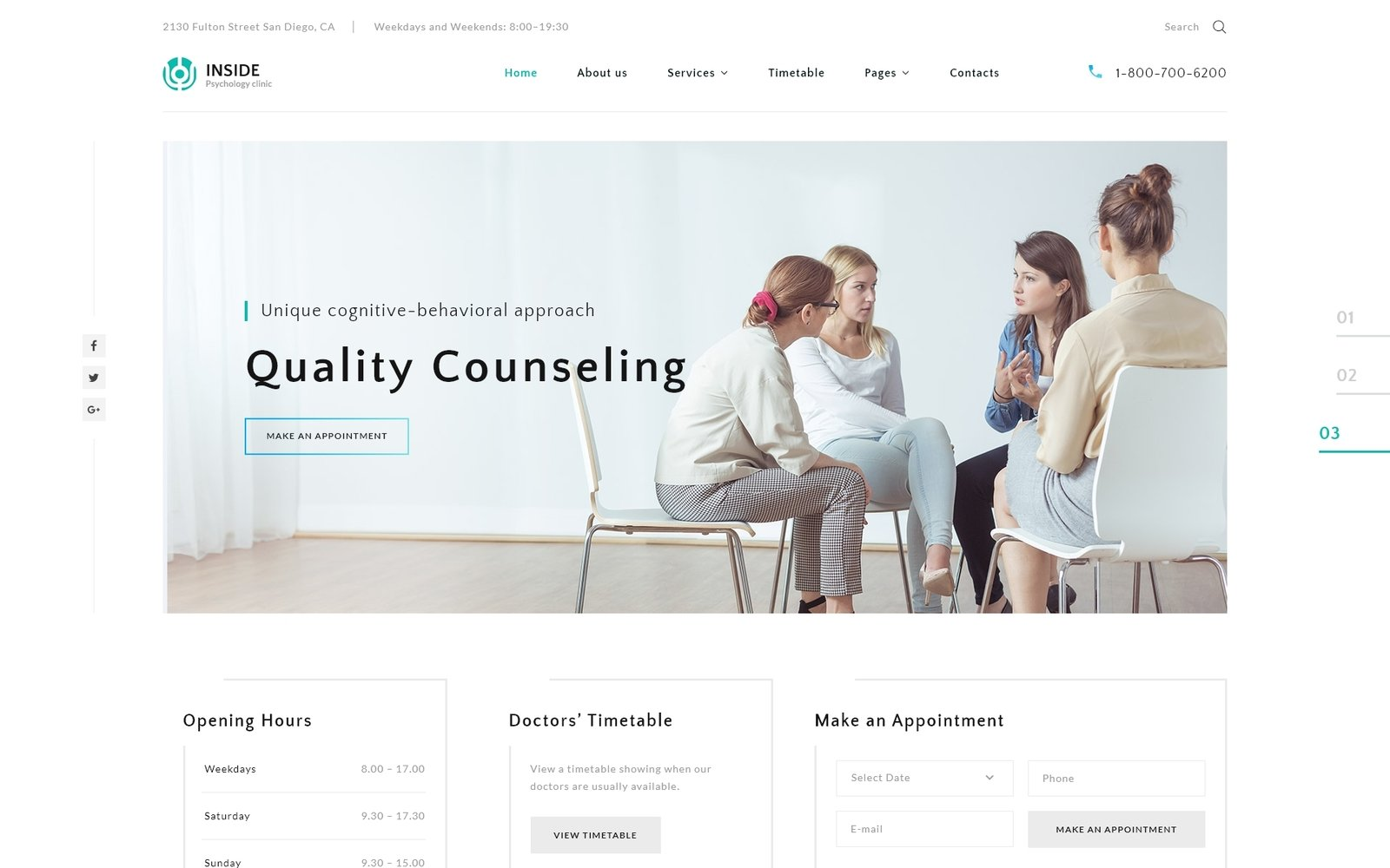 """Inside - Psychology Clinic Multipage HTML5"" 响应式网页模板 #67685"