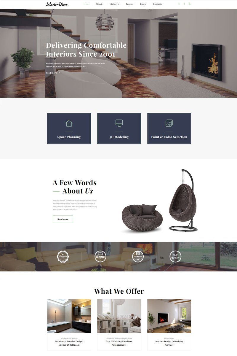 """Interior Decor - Interior Design Multipage HTML5"" 响应式网页模板 #67673"