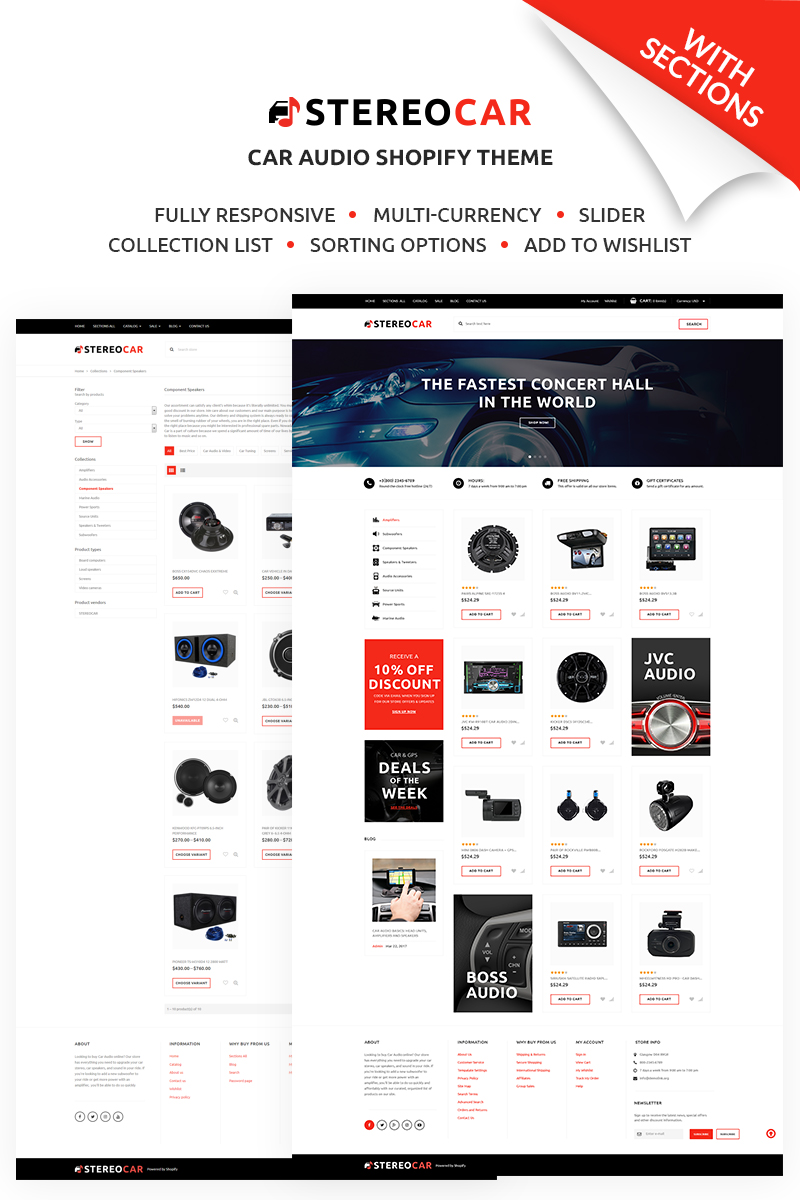 "Modello Shopify Responsive #67697 ""Stereocar - Efficient Automobiles Parts & Accessories Online"" - screenshot"