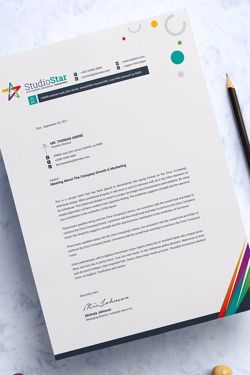 Microsoft Word Letterhead Template | Ms Word Letterhead Corporate Identity Template 67657