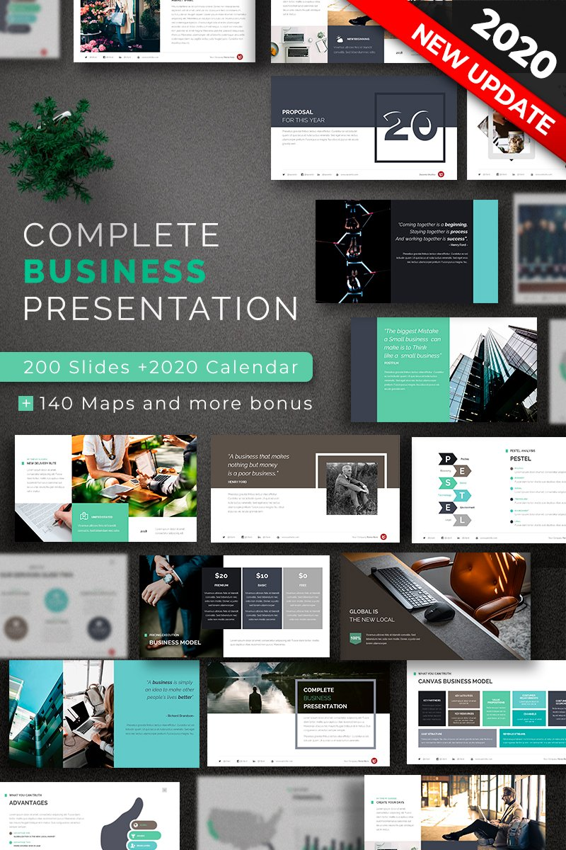 "Plantilla PowerPoint ""Complete Business"" #67622"