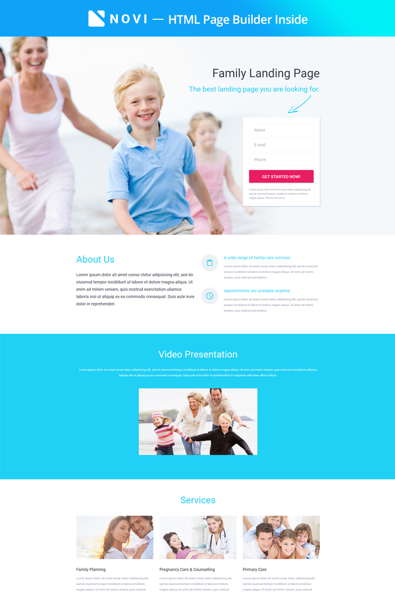 Responsivt Family - Modern Medical Care Compatible with Novi Builder Landing Page-mall #67604
