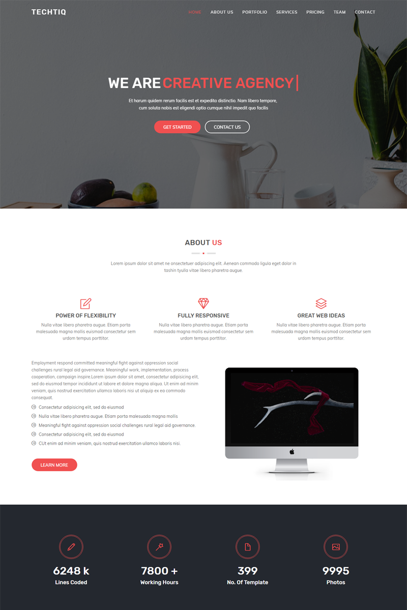 Responsivt Techtiq - Responsive Multipurpose Website Template Hemsidemall #67611