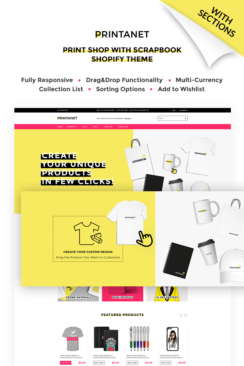 Responsywny szablon Shopify Printanet - Accessories Online Store #67628
