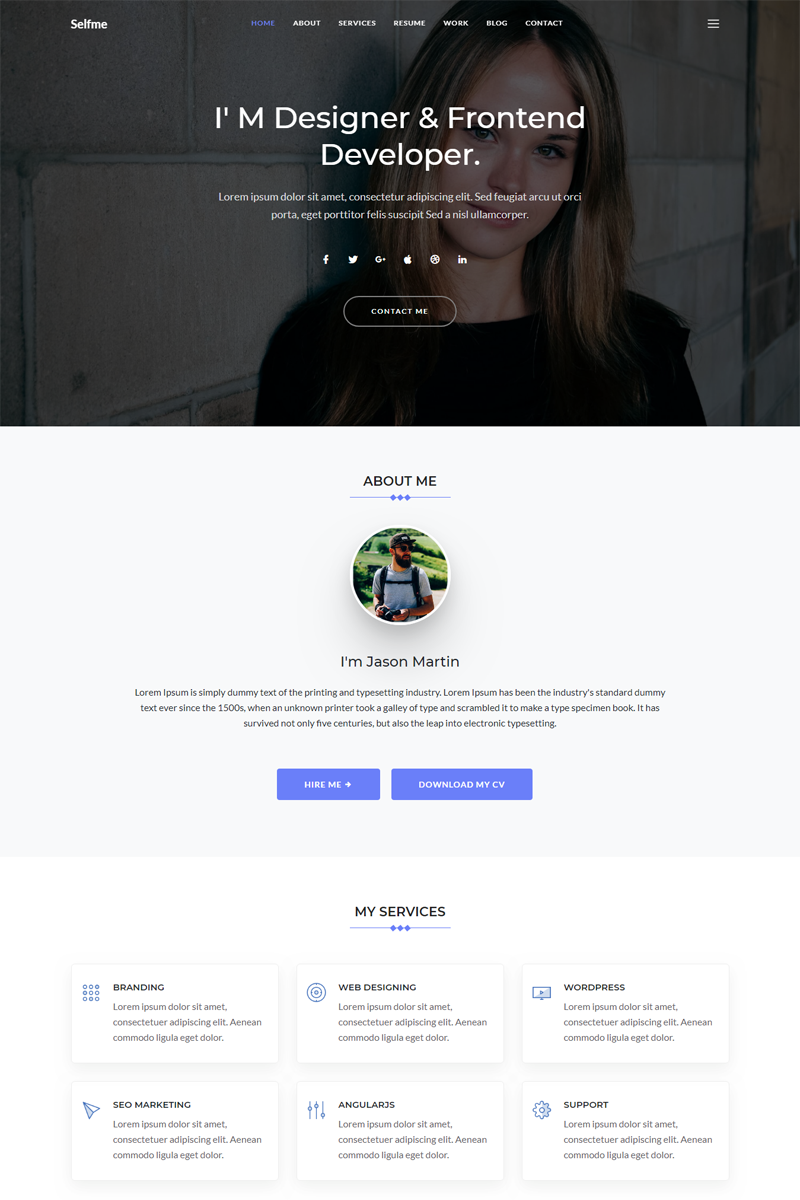 """""""Selfme - Responsive Bootstrap 4 Personal"""" 响应式网页模板 #67683"""