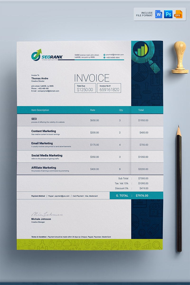 Simple Clean MS Word, PSD,  EPS Invoice - Corporate Identity Template