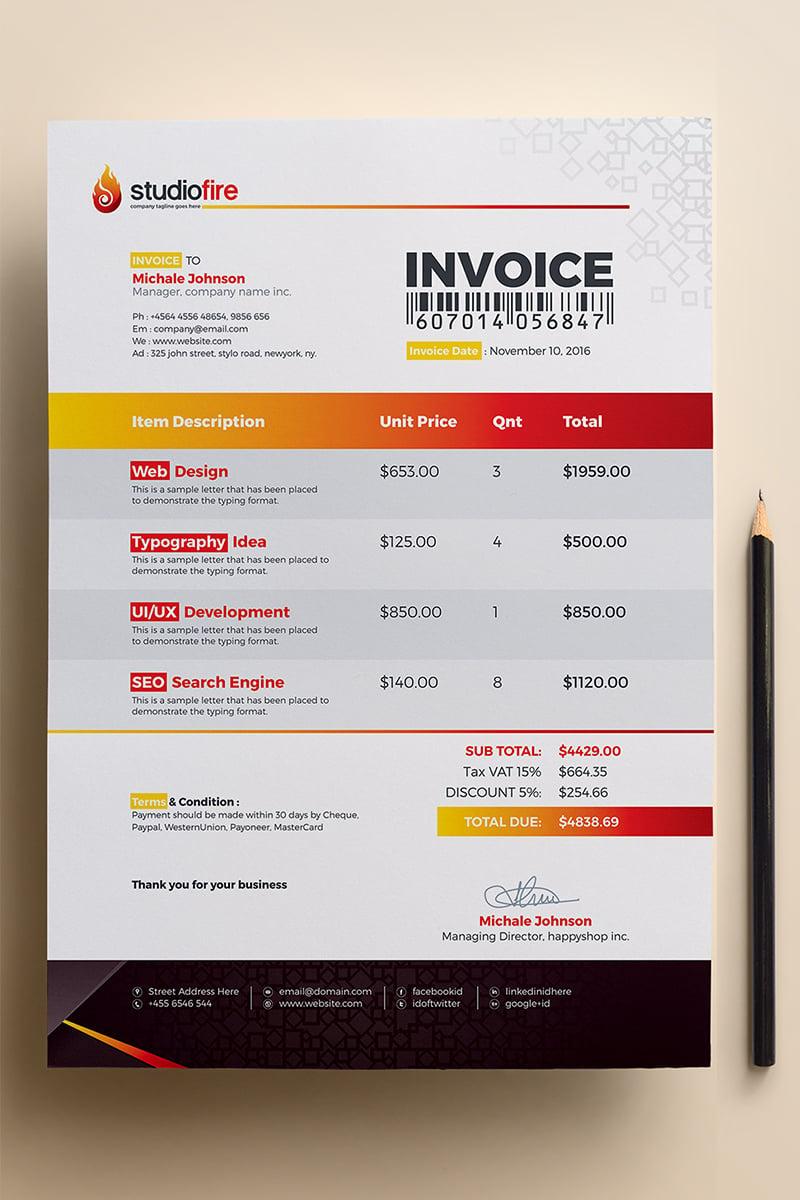 studiofire clean invoice corporate identity template 67669