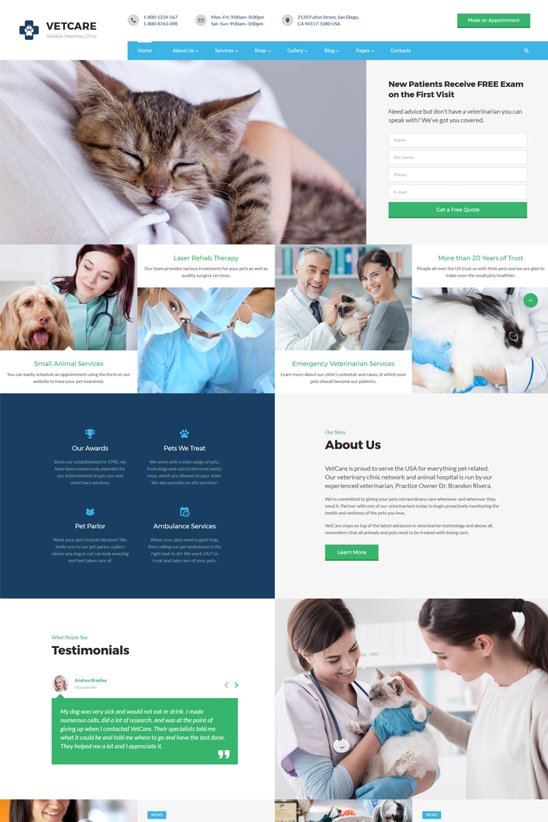 """Vetcare - Vet Clinic Multipage HTML5"" 响应式网页模板 #67627"