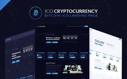 ICO Cryptocurrency Bitcoin Landing Page Template