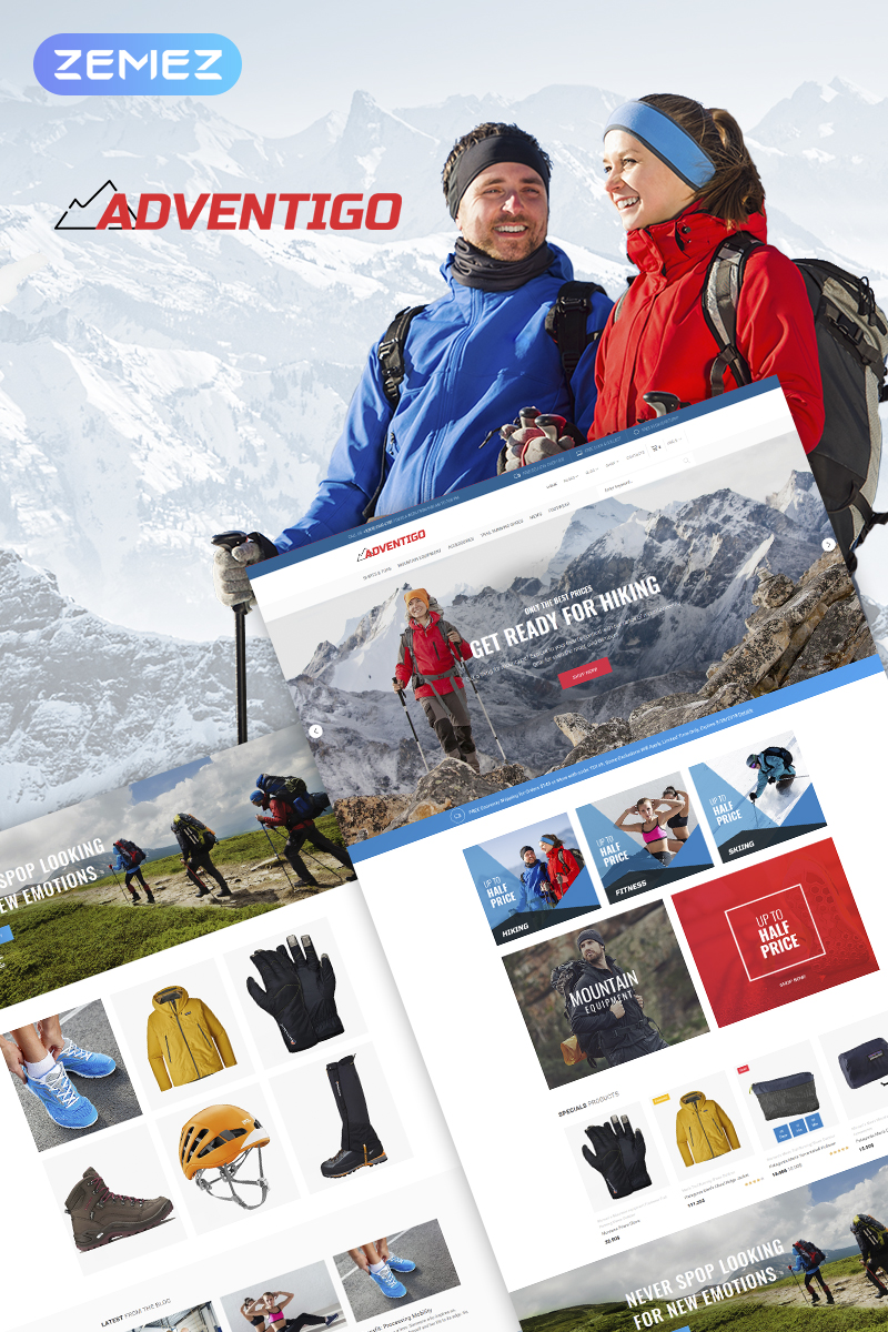 """Adventigo - Sports & Travel"" Responsive WooCommerce Thema №67703"