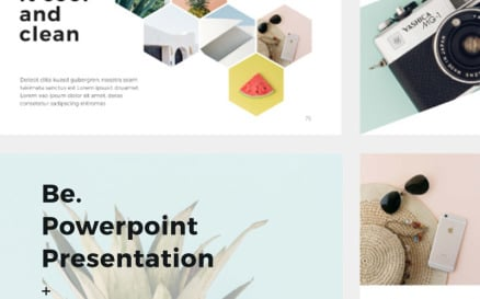 Be Presentation + 30 Photos Bonus PowerPoint template PowerPoint Template