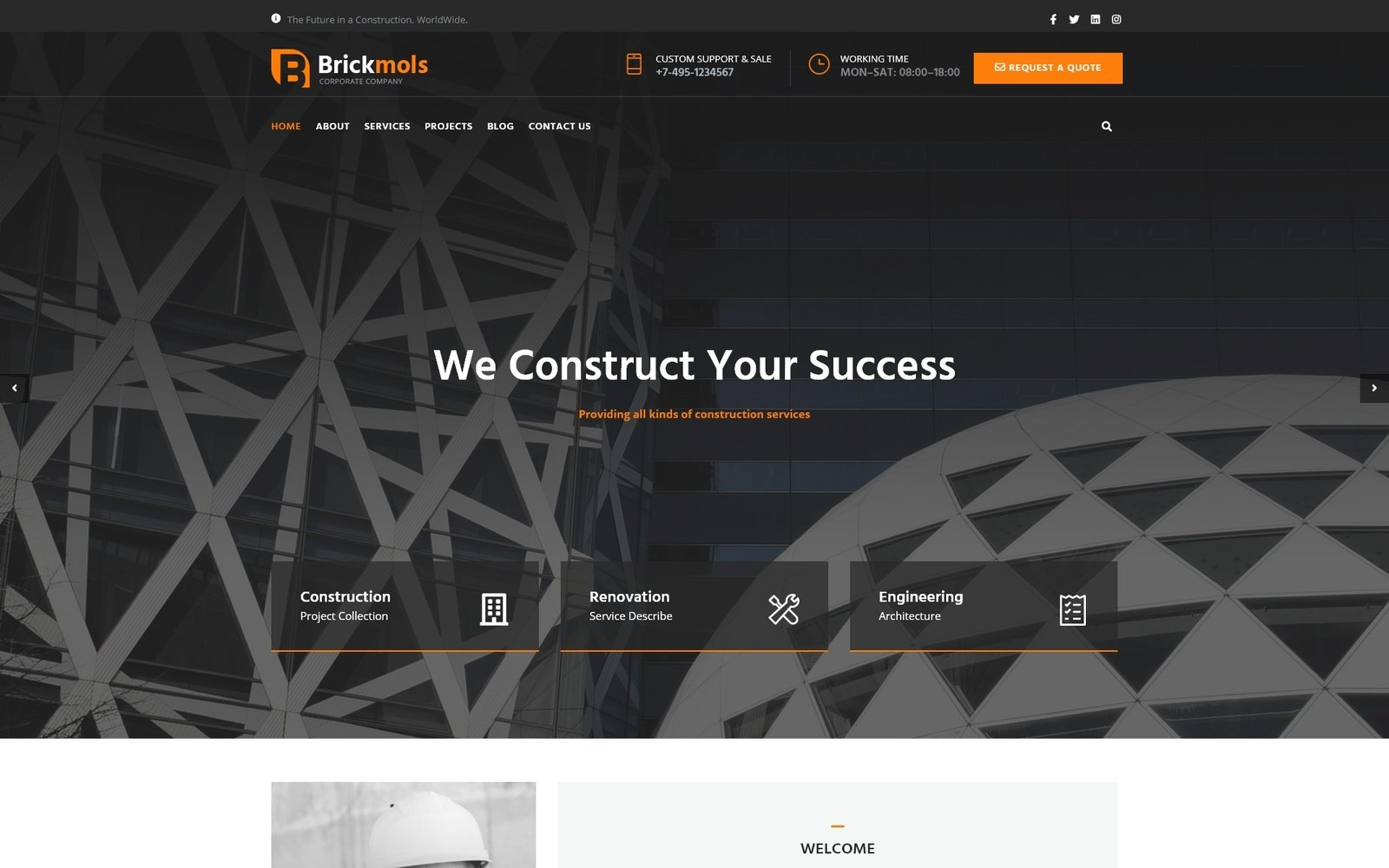 """Brickmols - Responsive Construction & Architecture Company"" Responsive WordPress thema №67752"
