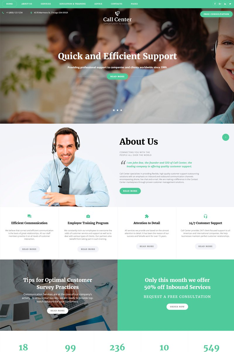 Call Center - Responsive Call Center Multipage HTML №67773