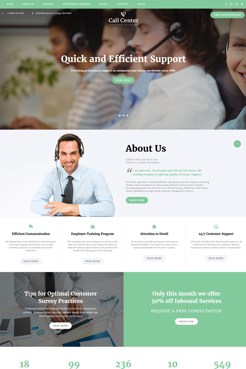 """""""Call Center - Responsive Call Center Multipage HTML"""" Responsive Website template №67773"""