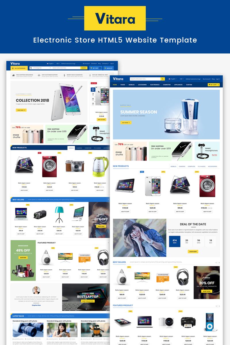 "Modello Siti Web Responsive #67796 ""Vitara - Electronic Store HTML5"""