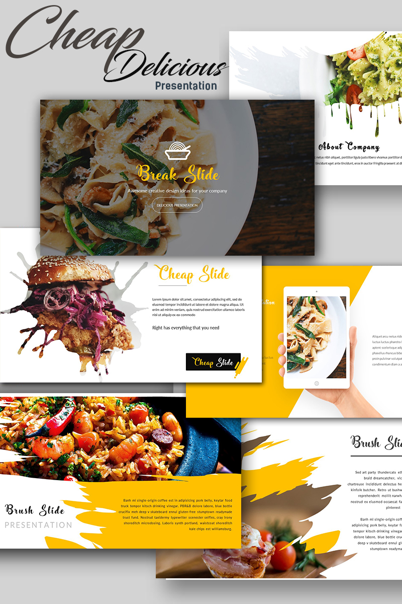 "Plantilla PowerPoint ""Cheap Delicious Presentation"" #67701"